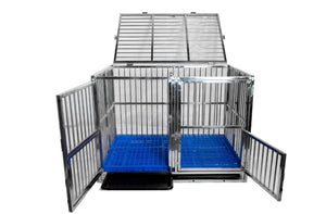 "💥NEW DESIGN💥 43"" Stackable Double Door Foldable Stainless Steel Cage with Feeder Doors and Removable Divider"