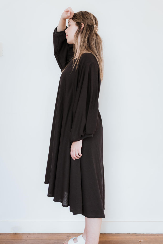 Black Linen Rayon -Back to it dress