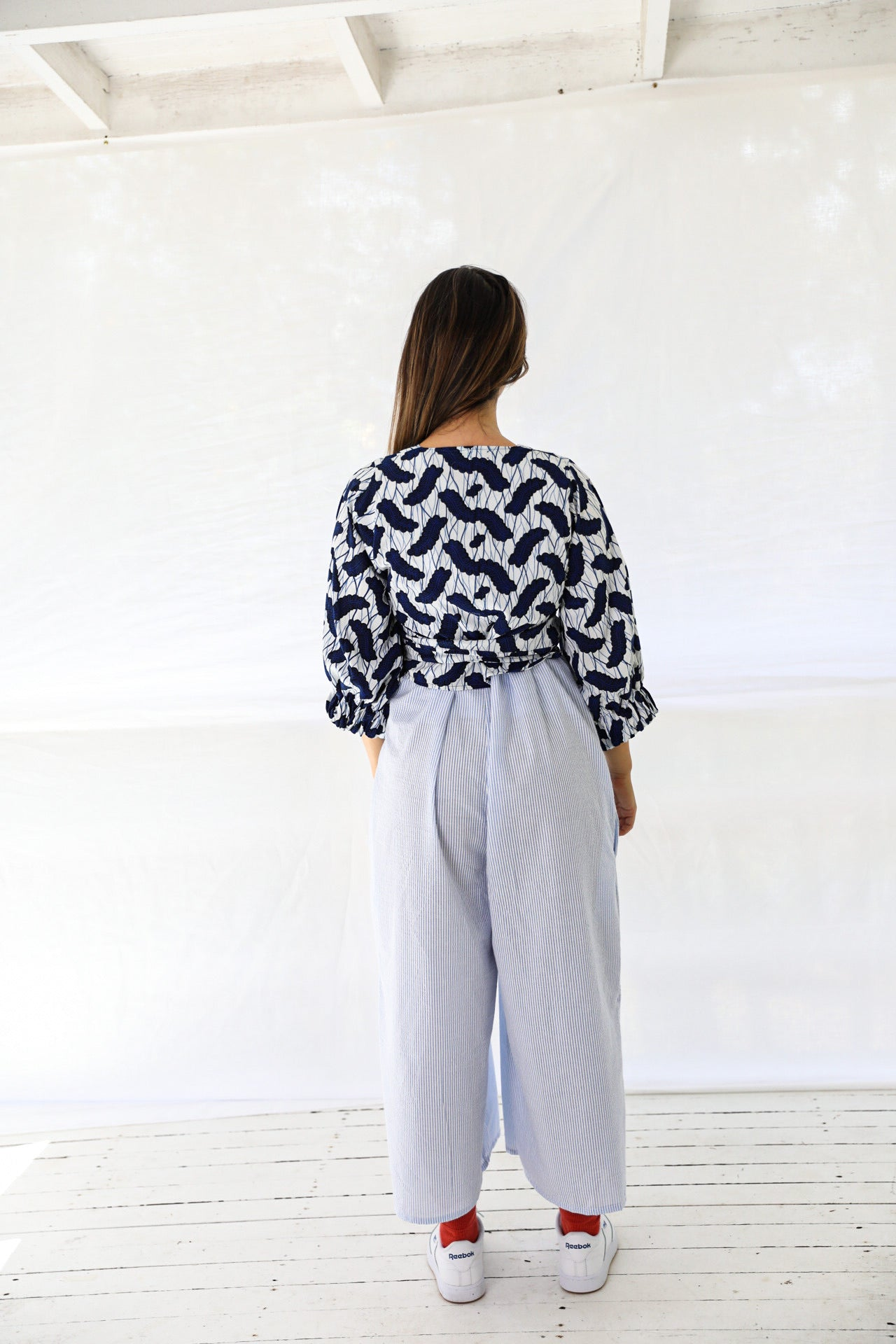 Wrap Tie Top in Navy fern