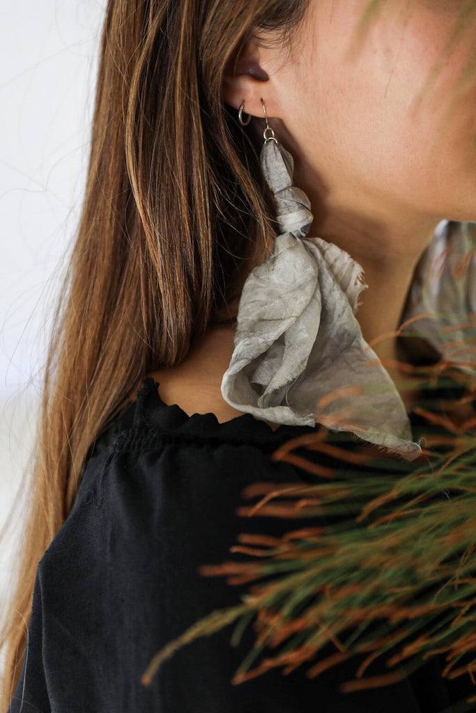 Nomad Grey Silk Earrings