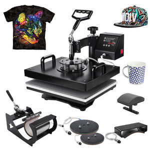 "PowerPress 5 in 1 Multifunction Sublimation Heat Press Machine for T-Shirts, Mug,and Cap, 15""x12"", Black"