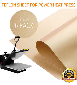 PowerPress 6 Pack Teflon Sheet for Heat Press Transfer Sheet Non Stick 16x24 inch Heat Resistant Craft Mat