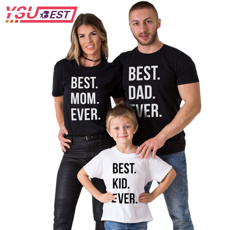 408dcde7c3 Family Look Summer Family Matching Clothes Cotton Father Son Clothes Short  Sleeve Family Matching Shirts BEST DAD MOM KID EVER
