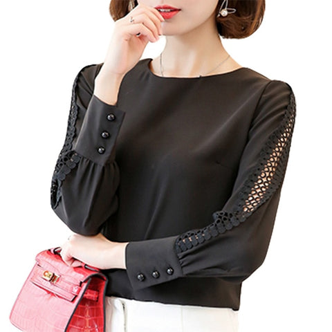 2936c46a VogorSean New Women Blouses Shirt Hollow Out Lace Blouse Tops For Shirt  Geometry Casual For Work