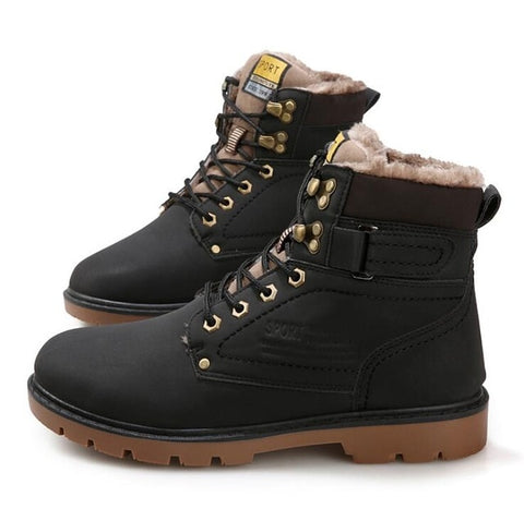 5b49de82148 Big Size 2018 39-46 Winter Mens Boots Men Casual Fahsion Snow Men Ankle  Boots Men Leather Boots For Men Shoes With Fur Keep Warm