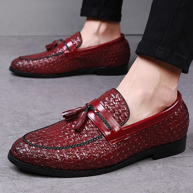 Large size 38-48 tassel plaid men loafers weaving comfortable soft mens  leather shoes 2018 ... 2bf1b2ac4597