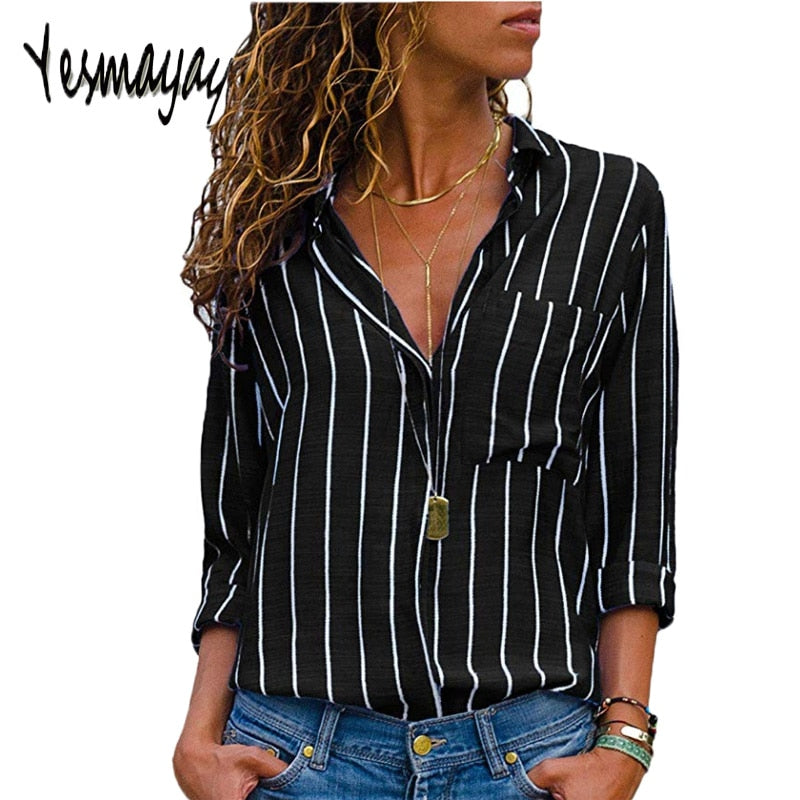 b91cdb3dd39076 ... Black Red Striped Blouse Womens Tops And Blouses Long Sleeves Women  Blusas Mujer De Moda 2018