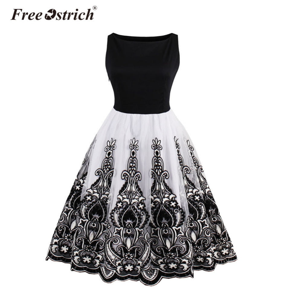 Free Ostrich Fashion Dresses Womens Butterfly Printing Sleeveless Party Dress Designer Tops Girl Vintage Swing Lace Dress C3135 Buy Now Dresses