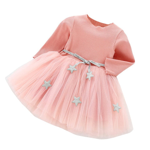 84f4a9d95f Vestido Infantil 2018 Fashion Dress Toddler Kids Baby Girls Long Sleeve  Star Clothes Party Princess Dresses