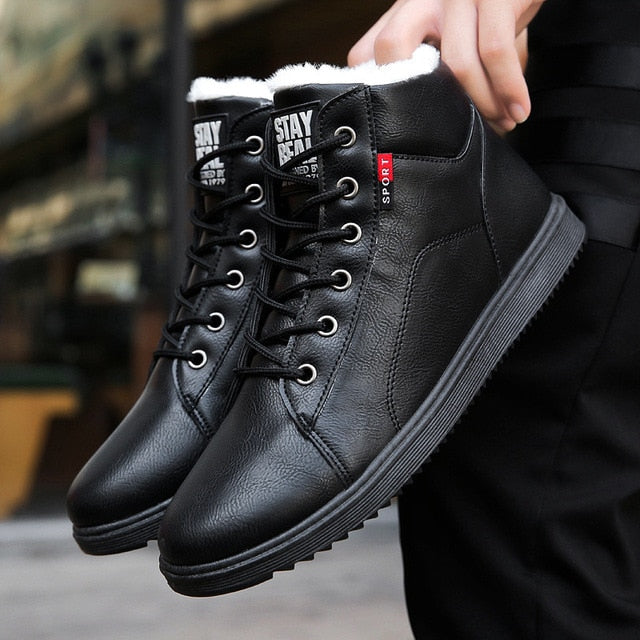 2018 Winter Fur Warm Male Boots For Men Casual Shoes Work Adult Quality Walking Rubber Brand Safety Footwear Sneakers Student Men's Shoes Basic Boots