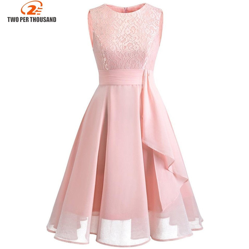 f1f55b54221 ... Christmas Vintage Lace Dresses Sleeveless Sexy Pink Party A-Line  Chiffon Dresses Elegant Women Midi