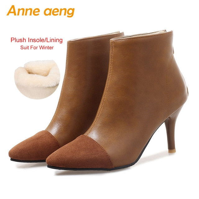 2f9a34a47c4 2018 New Winter Women Ankle Boots High Heels Pointed Toe Zipper Elegent  Sexy Ladies Women Shoes ...