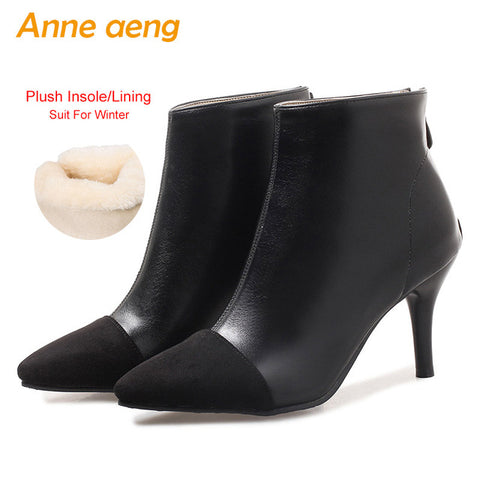 2f2b42cc953 2018 New Winter Women Ankle Boots High Heels Pointed Toe Zipper Elegent  Sexy Ladies Women Shoes Yellow Snow Boots Big Size 33-46