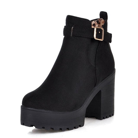 8f8354acb5f BONJOMARISA New Solid Square High Heels Belt Buckle Platform Shoes Women  Casual women's Autumn Winter Ankle Boots Big Size 34-46