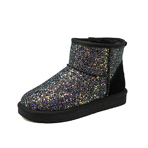 ... Toe Bling Pink Black Snow Boots. Misalwa Women Ankle Boots Flat Heel  Shoes Woman Winter Glitter Slip-On Boots Casual Round d135fa57f9ef