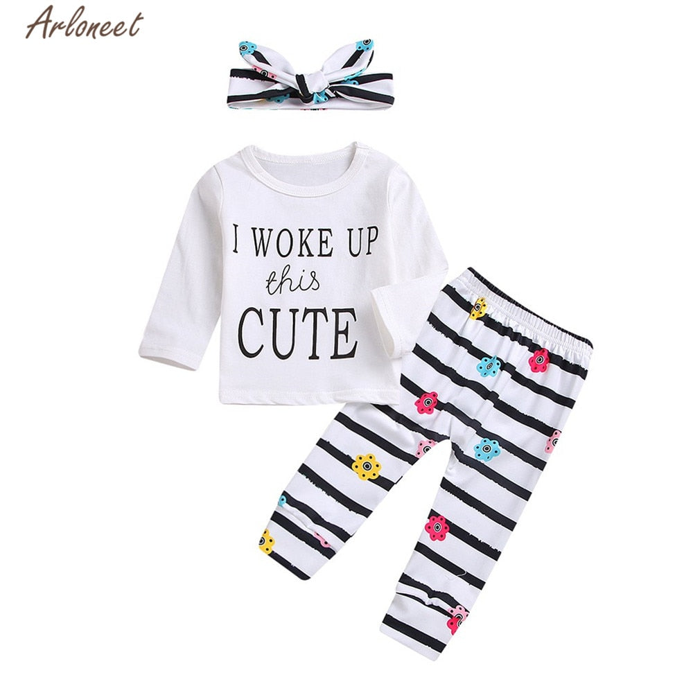 c22cb944d ... ARLONEET Clothes Baby Girl Boy Casual Letter Romper Stripe Pants  +Headbands Outfits Set Child 3pc