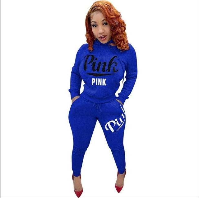 2be23ae4c23 Autumn Plus Size 2 Piece Set Women Tracksuit Casual PINK Letter Print Sexy  Sweat Suits Patchwork ...