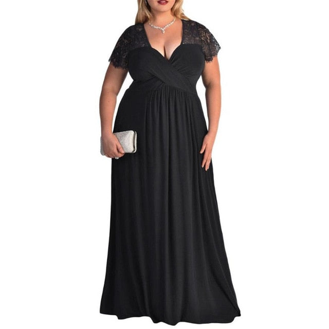 36180535ef7 New Arrival Dresses 2018 Women s Plus Size Short Sleeves High Waist Long  Lace Dress Fashion Casual ...