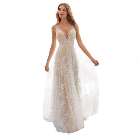 f8c4ef1dad2 FREE OSTRICH Women Dress Chiffon Lace Back Hollow V-Neck Long wedding Dress  Elegant Party