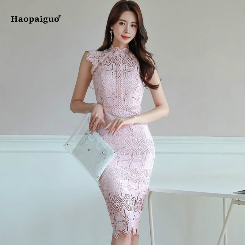 ... Plus Size Pencil Dress Summer 2018 Women Pink Sleeveless Stand  Knee-length Elegant Korean Party a400837349eb