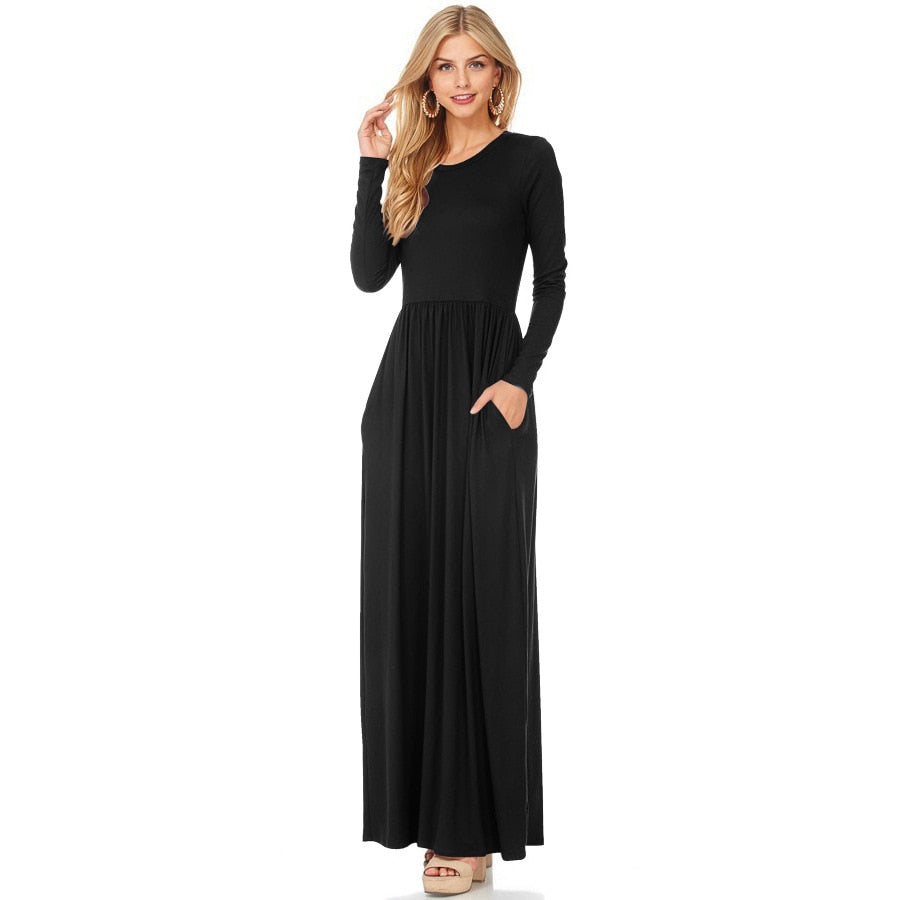 33713946dd4 ... 2019 New Women Long Sleeve Autumn Long Dresses Casual O-Neck Black Red  Blue Straight