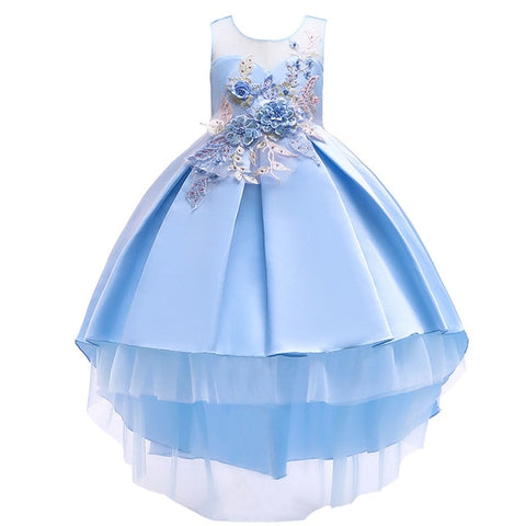 83deb0386f47d Princess Ball Gown Dress Floral Baby Girl Princess Bridesmaid Pageant Gown  Birthday Party Wedding Dress Kids Clothes