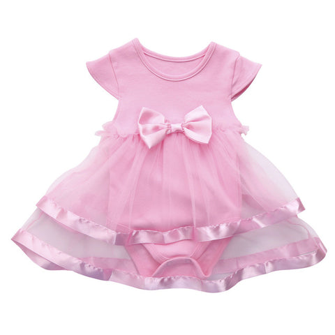 060889d4f Birthday Party Tutu Bow Lace Dress for Baby Girls Patchwork White ...