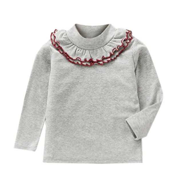 fca40755c Toddler Baby Girls Autumn T Shirts Long Sleeve Ruffles Candy Color Tops  Children Girl Casual Solid T Shirts Clothe #YL