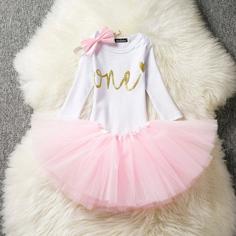 b87b742dbb0a3 Winter Baby Girl Long Sleeve Dress Gold It's My Little Girl 1st Birthday Outfits  Tutu Bebes
