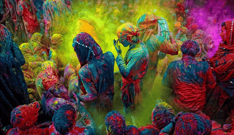 holi color powder at festival