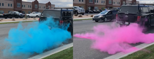 car tire gender reveal burnout bag pink blue color powder surprise party