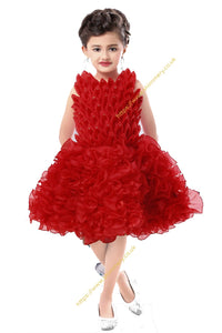 f94e798a8a4c67 Christmas Red Flowery Frill Unique Birthday Wedding Party Girl Dress Frock