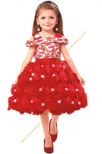 9c0fffad761279 Beautiful Christmas Red and White Flowery Frill Unique Birthday Wedding  Party Girl Dress Frock
