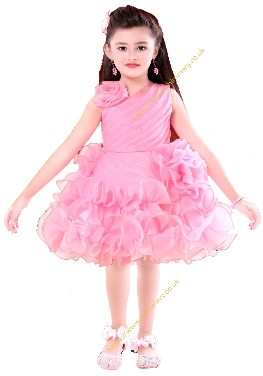 d4574a149781eb Beautiful Light Baby Pink Flowery Frill Unique Birthday Wedding Christmas  Party Girl Dress Frock - SHiMMERY ...