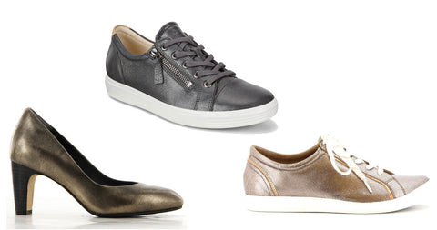 Distressed metallic shoes for women