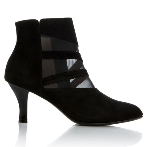 ANJA - BLACK SUEDE/ TRANSPARENT MESH 1