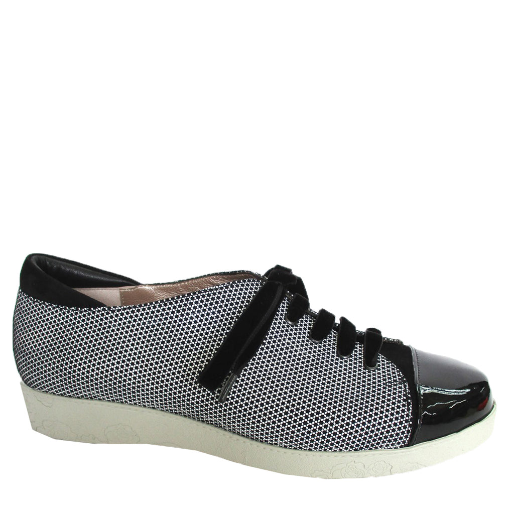 CELLA - BLACK WHITE MESH SUEDE