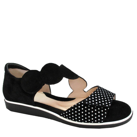 ELBA - BLACK WHITE POLKA DOT SUEDE