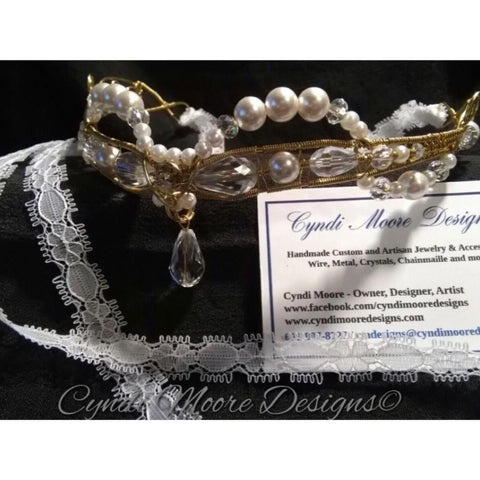 Gold Brass, White Pearl, and Crystal Elvin Circlet by Cyndi Moore Designs