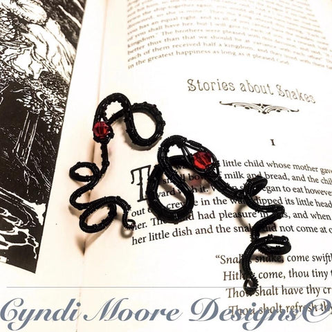 Black and Ruby Serpent Ear Cuffs