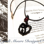 Black and Ruby Red Wire Wrap Serpent Necklace by Cyndi Moore Designs