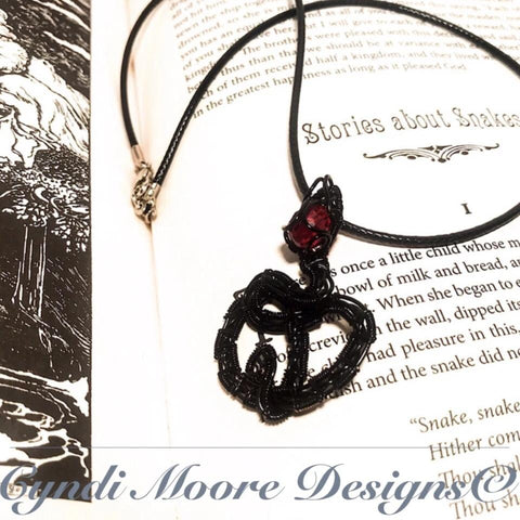 Black and Ruby Wire Wrapped Serpent Necklace
