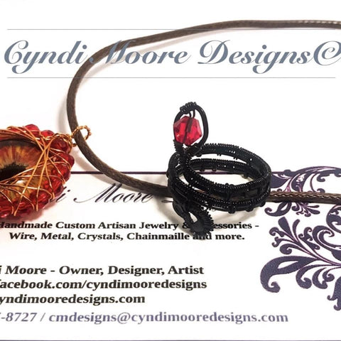 Black and Ruby Red Wire Wrap Serpent Ring by Cyndi Moore Designs