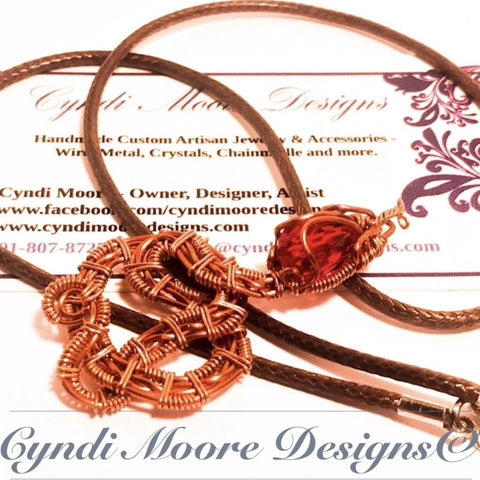 Copper and Ruby Red Wire Wrap Serpent Necklace by Cyndi Moore Designs