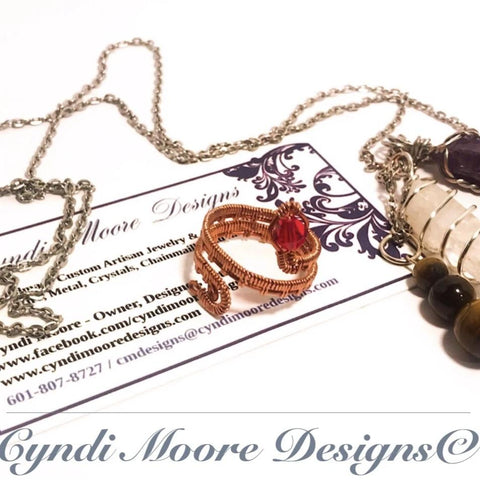 Copper and Ruby Wire Wrapped Serpent Ring