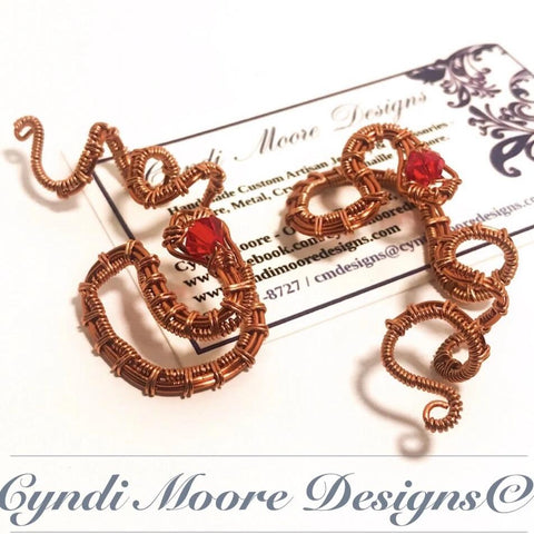 Copper and Ruby Serpent Ear Cuffs