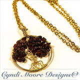 Tree of Life Necklace / Garnet and Gold