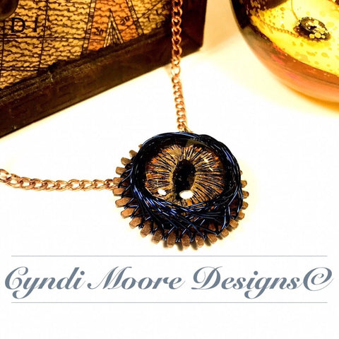 Gold, Blue, Copper Dragon Eye on Gear Necklace