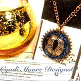 Gold, Blue, Copper Dragon Eye Necklace by Cyndi Moore Designs