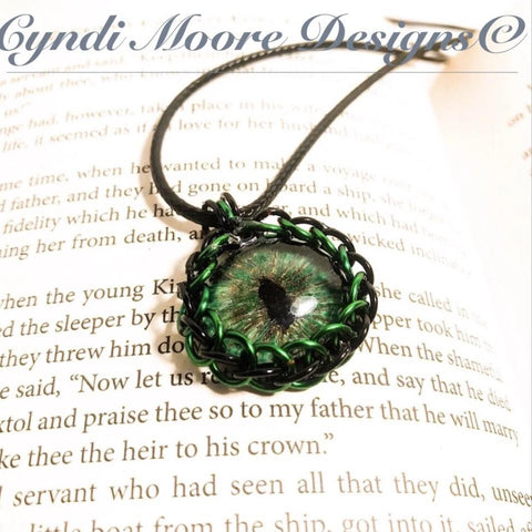 Green Black Hand painted Dragon Eye Chain maille by Cyndi Moore Designs